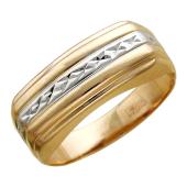Мужское кольцо, прямоугольная шинка, родирование, красное золото, 585 проба