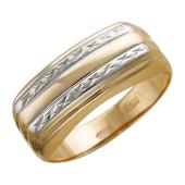 Мужское кольцо, две линии алмазной грани, красное золото, 585 проба