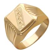 Мужское кольцо широкое с алмазным рисунком, красное золото