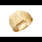 Мужское кольцо, растительный узор, красное золото 585 проба