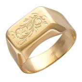 Мужское золотое кольцо с узором , красное золото, 585 пробы