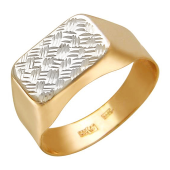 Мужское кольцо с алмазными гранями на прямоугольной поверхности, красное золото
