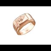 Кольцо мужское, растительный орнамент в центре, красное золото