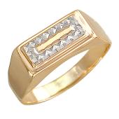 Кольцо мужское с алмазной гранью, красное золото