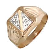 Кольцо мужское с алмазными гранями, красное золото