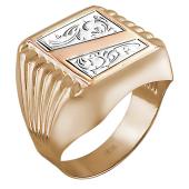 Кольцо мужское с растительным орнаментом, красное золото