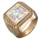 Кольцо мужское с крестом и алмазными гранями, красное золото