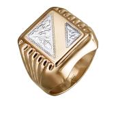 Кольцо мужское с алмазными гранями, красное золото и родирование