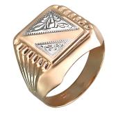Печатка с алмазными гранями, красное золото