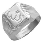 Кольцо мужское мусульманское с алмазными гранями, серебро