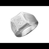 Кольцо мужское с алмазными гранями и растительным узором, серебро