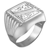 Кольцо мужское с алмазными гранями, серебро