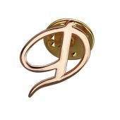 Брошь значок буква Д, красное золото