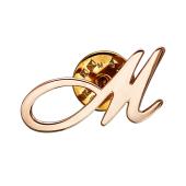 Брошь значок буква М из красного золота