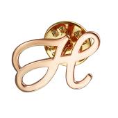 Брошь значок буква Н из красного золота