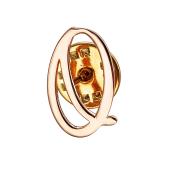 Брошь значок буква О из красного золота