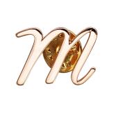 Брошь значок буква Т из красного золота
