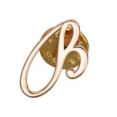 Брошь значок буква В, красное золото