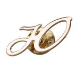 Брошь значок буква Ю из красного золота