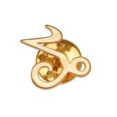 Брошь-значок знак Зодиака Козерог, красное золото