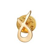 Брошь-значок знак Зодиака Телец, красное золото
