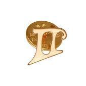 Брошь-значок знак Зодиака Близнецы, красное золото
