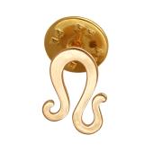 Брошь-значок знак Зодиака Лев, красное золото