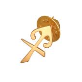 Брошь-значок знак Зодиака Стрелец, красное золото