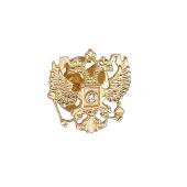 Значек Герб России Двуглавый Орел с фианитом из желтого золота 585 пробы и латунным замком