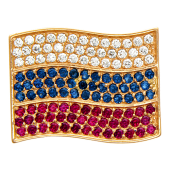 Значек Флаг Российской Федерации с цветными фианитами, красное золото