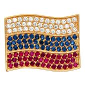 Значек Флаг Российской Федерации с сапфирами и рубинами, красное золото