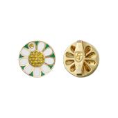 Значок Ромашка с желтыми бриллиантами и зеленой эмалью, желтое золото 585 проба