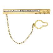 Зажим для галстука с алмазными гранями из желтого золота
