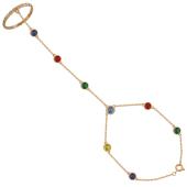 Браслет Панье с кольцом, цветные камни, красное золото