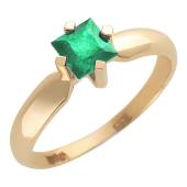 Кольцо с квадратным изумрудом, красное золото