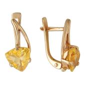 Золотые серьги, вставка полудраг треугольной огранки
