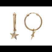 Серьги-кольца Звезда с алмазной огранкой, красное золото