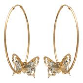 Серьги Кольца конго диаметр 40мм ( 4 см) с тремя бабочками, красное и белое золото