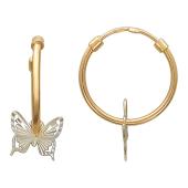 Серьги Кольца конго диаметр 16мм ( 1.6 см) с бабочкой