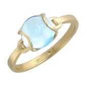 Кольцо Леденцы с круглым гладким камнем кабошон, желтое золото 585 проба