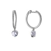 Серьги-конго с фианитом и подвеской Сердце, серебро