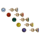Серьги пусеты с цветными круглыми фианитами, красное золото