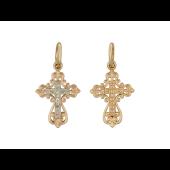 Крест православный узорный воздушный, комбинированное золото 17 мм