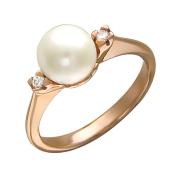 Кольцо с белым жемчугом и двумя фианитами по бокам, красное золото