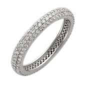 Кольцо Дорожка с 168 бриллиантами, белое золото 750 проба