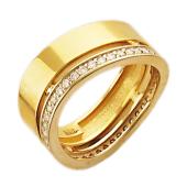 Кольцо с бриллиантами по краю, изогнутая шинка, комбинированное золото, 750 проба