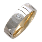 Кольцо обручальное с бриллиантами, четыре бриллианта, комбинированное золото 5мм