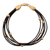 Браслет с каучуком, золотые шарики, красное золото, толщина шнурка 1.2мм