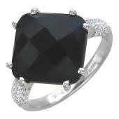 Кольцо с квадратным черным агатом и фианитами, белое золото 585 проба