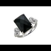Кольцо с черным прямоугольным агатом и фианитами, белое золото 585 проба
